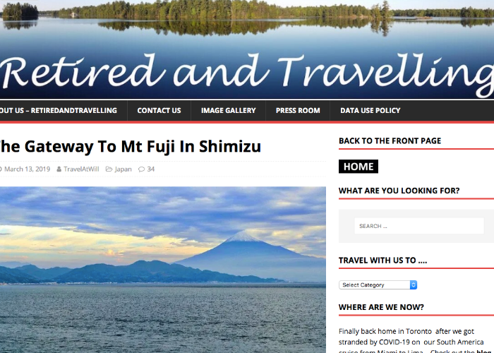 Retired and Travelling website page featuring an image of Mt. Fuji