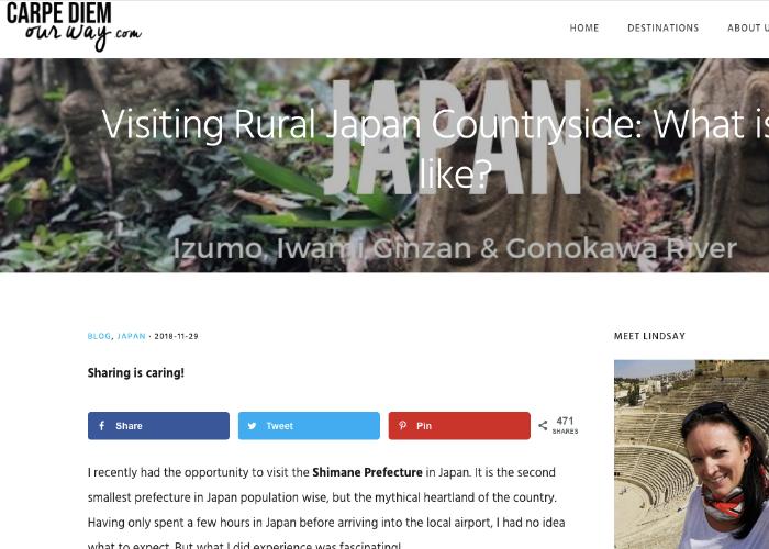 Webpage of Canadian travel blog, Carpe Diem Our Way