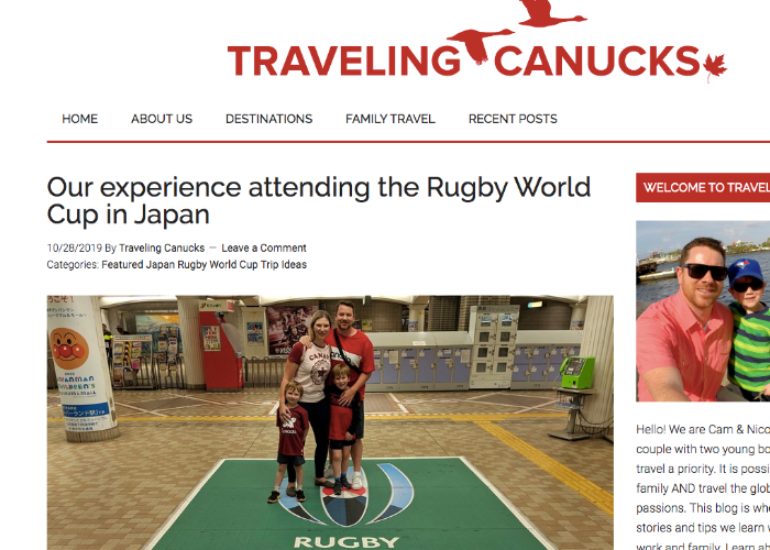 Traveling Canucks website featuring an article about Osaka's Rugby World Cup