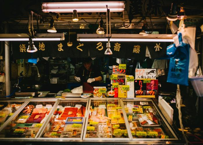 A picture of a stall in Tsukiji Fish Market in Tokyo