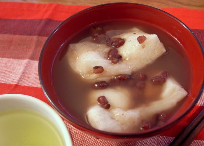 Oshiruko, a red bean soup with mochi