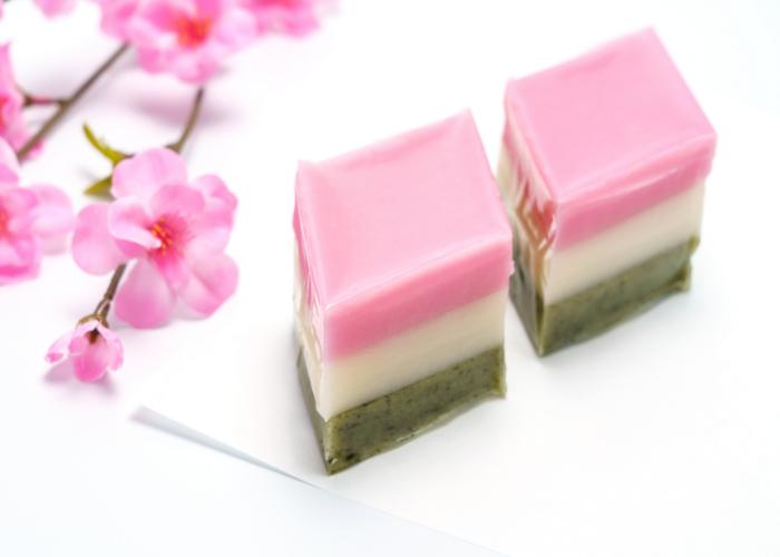Hishi Mochi for Girls' Day, triangular-shaped piece of mochi with layers in pink, white, and green