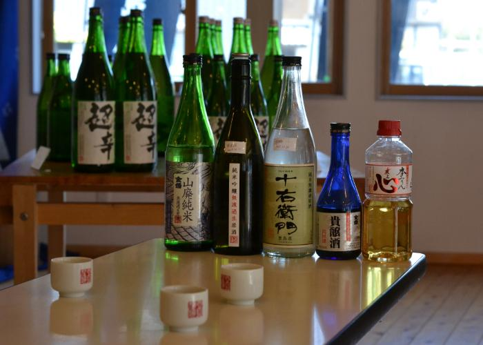 Toshimaya Shuzo sake bottles lined up