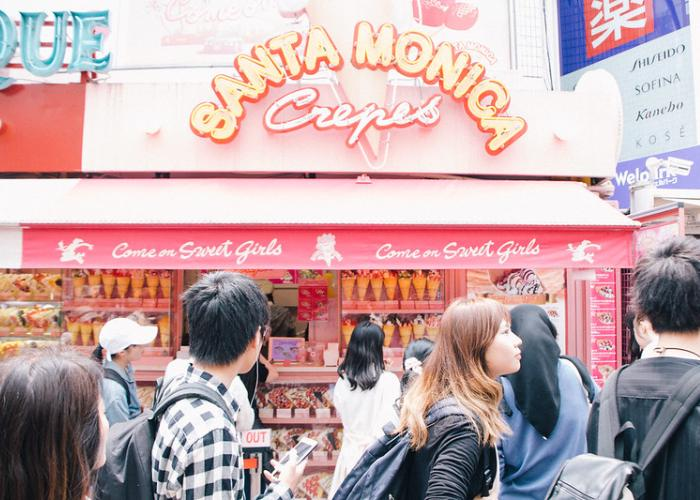 Santa Monica Crepes with people out the front in Takeshita Street
