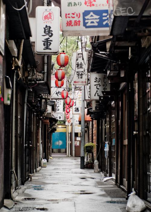 Tokyo's Nonbei Yokocho, a drinking alley during the daytime with various signs in Japanese