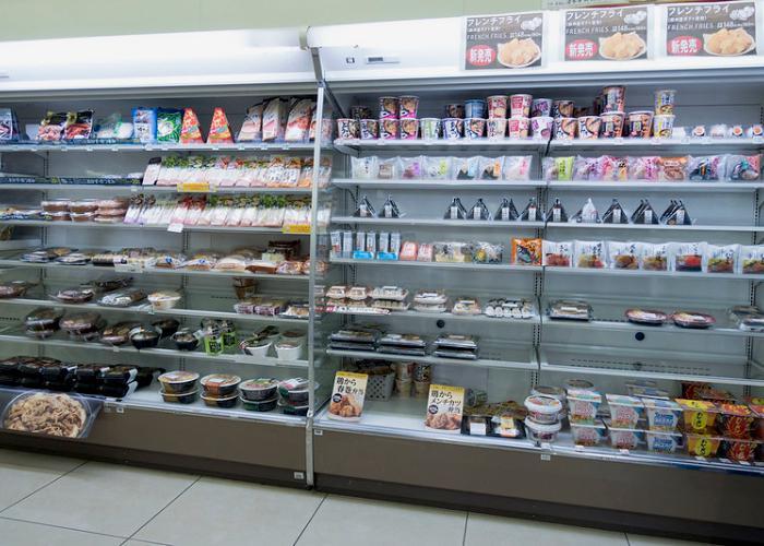 Konbini Convenience Store Shelf stocked with onigiri and bento