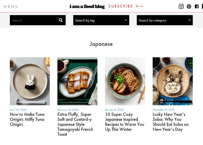 I Am A Food blog screenshot with posts on miffy tuna onigiri, tamagoyaki french toast, new year's soba