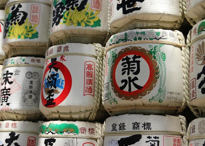 Barrels of nihonshu (Japanese sake), one of the most popular Japanese drinks