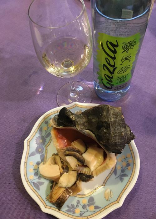 Prepared giant snail bought at Osaka Kizu Market
