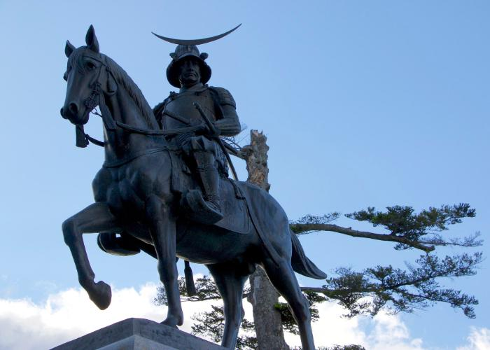 The statue of Date Masamune on a horse, which stands outside the castle.