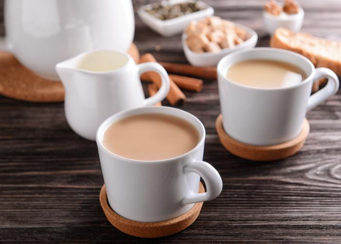 Small white mugs filled with Royal Milk Tea