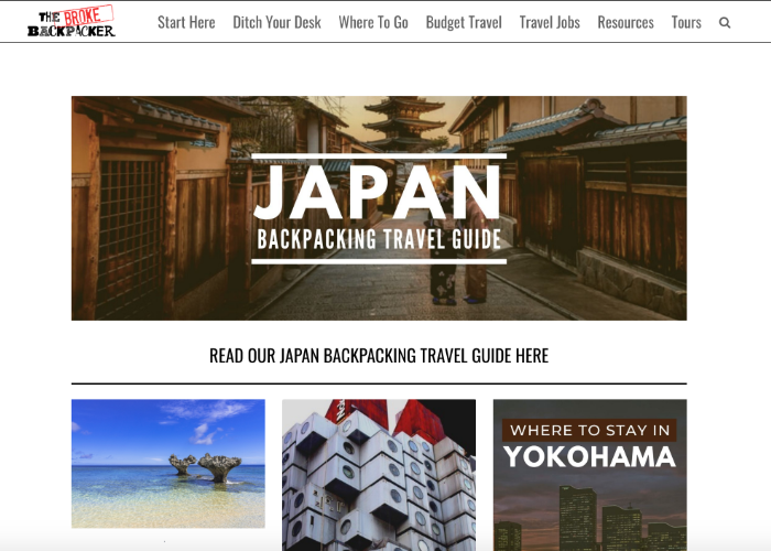 """Japan landing page for The Broke Backpacker, a UK travel blog, with a banner that reads """"Japan Backpacking Travel Guide"""" and has articles like """"Where to stay in Yokohama"""""""