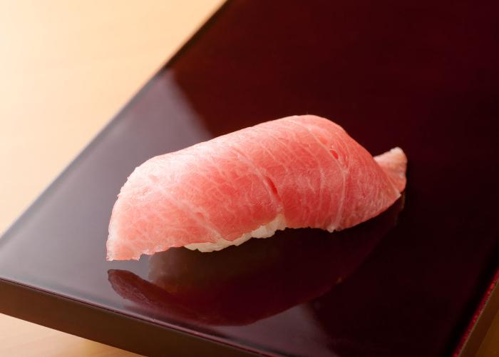 Fatty cut of tuna during an omakase meal