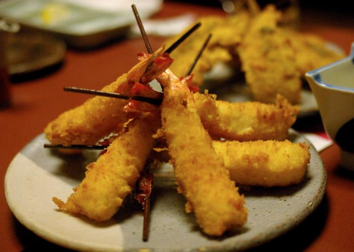Kushiage fried skewers stacked on top of each other