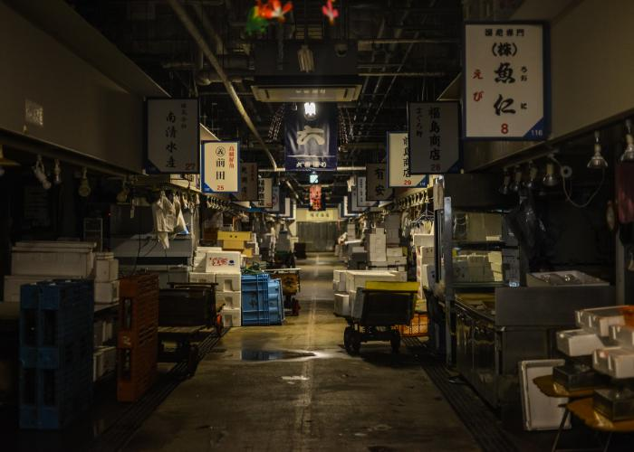 Osaka Kizu Market Interior - a dimly lit covered market