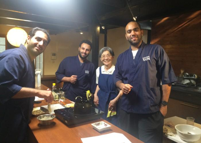 Three men and their Japanese cooking teacher during the Bento Making Class in Kyoto