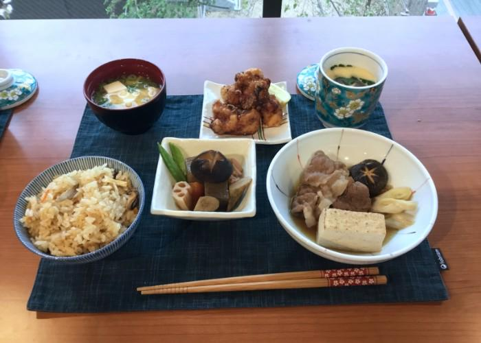 Rice, soup, and other Japanese dishes made during the Izakaya Food Cooking Class in Kyoto