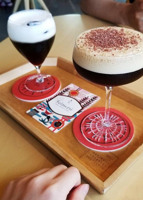 Coffee Martini and Irish Coffee at Starbucks Reserve Roastery Tokyo on a wooden tray