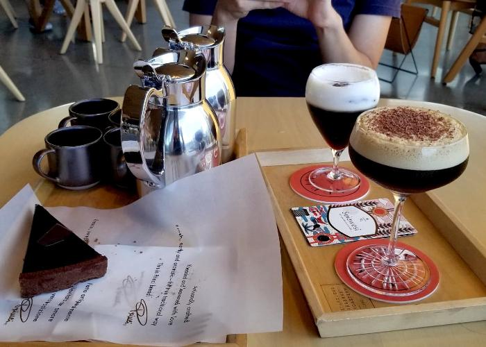 Coffee cocktails, cake, and two pitchers of coffee at Starbucks Reserve Roastery Tokyo