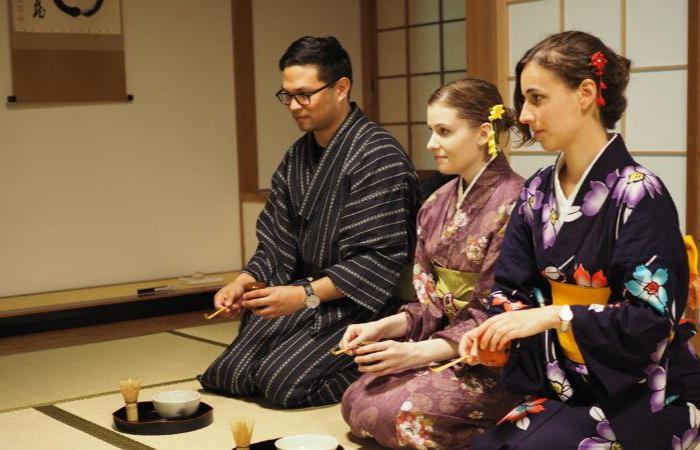 People taking part in a Japanese tea ceremony
