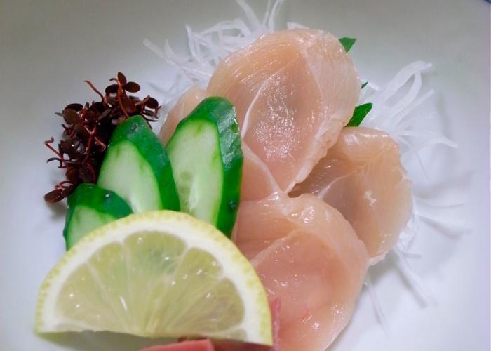 Close up photo of torisashi slices