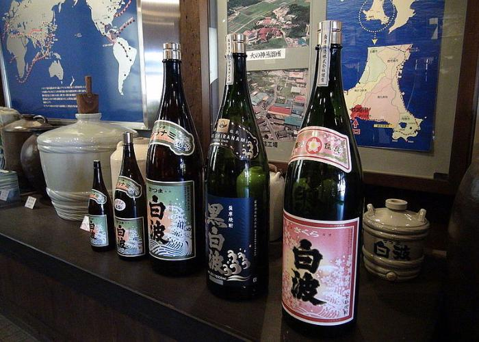 A Kagoshima Prefecture specialty, satsuma shochu bottles lined up on a table